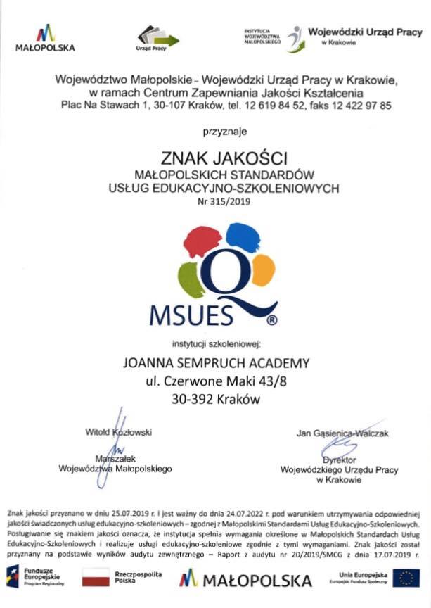 szkola stewardes krakow znak jakości MSUES